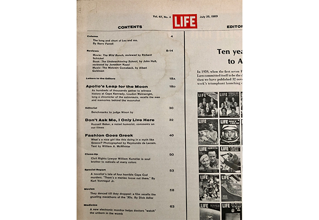 Life Magazine Table of Contents July 25 1969